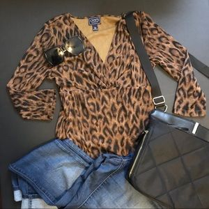 Chaps cheetah print v-neck blouse